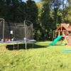Replaced their trampoline netting and also did some service work on their swing set.